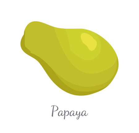 Papaya exotic fruit vector isolated. Papaw or pawpaw Carica plant. Tropical food, similar in appearance tor pear, dieting vegetarian grocery icon