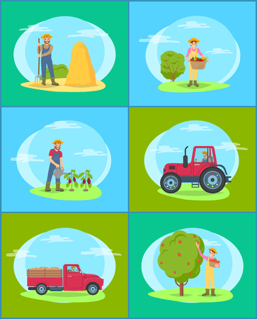 Farming man and woman, wearing special uniforms. Set of farmers on land, person with hayfork, lady with wicker basket and vegetables in it vector