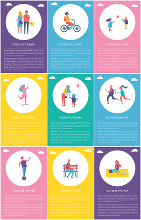People in park posters set with text sample. Children playing games, woman on bike riding bicycle. Lady skating and mother giving kid ice cream vector