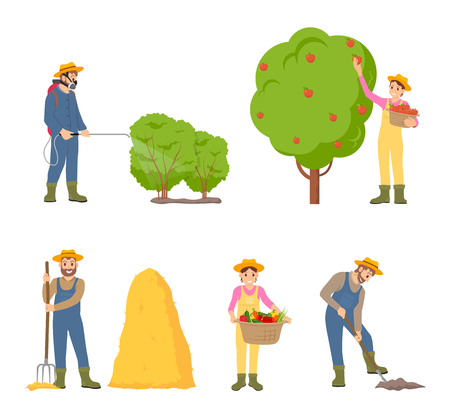 Woman farming man icons. Gathering apple from fruit tree, digging soil cultivating ground and putting hay on bale of dry grass. Bush sprayer vector Illustration