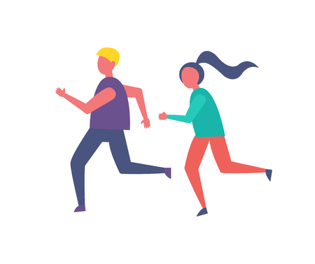 Running people, jogging couple isolated icon vector. Male and woman keeping fit and leading healthy lifestyle. Runners training exercising together