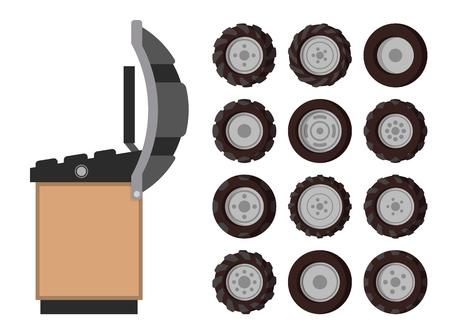 Tire Service, Vector Emblem, in Cartoon Style Çizim