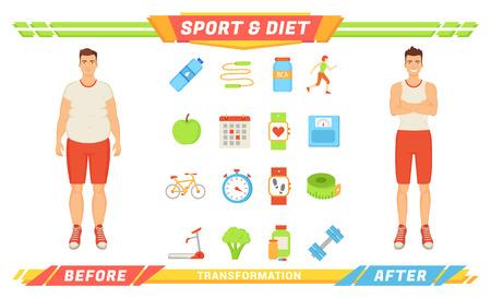 Sport and Diet Transformation Vector Illustration