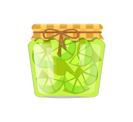Lime or lemon home cooked jam or marmalade in small glass jar. Citrus confiture in decorated with textile and string container vector illustration.