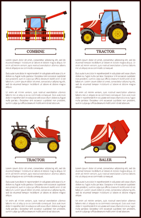 Tractor and combine set of posters with text sample and agricultural machinery. Equipment for farming works, baler stacker and loader vector harvesters 일러스트