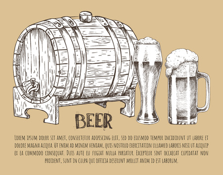 Beer Barrel and Glass Vintage Hand Drawn Poster