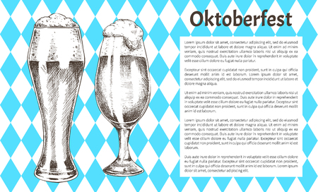 Oktoberfest poster pair of beer goblets with foamy ale graphic art, vector illustration of glassy kitchenware with alcohol drinks, glasses set on banner Illustration
