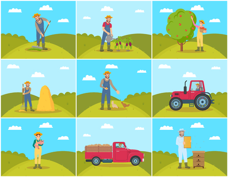 Beekeeper and Farming Man Vector Illustration Archivio Fotografico - 113272298
