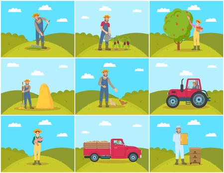 Beekeeper and Farming Man Vector Illustration