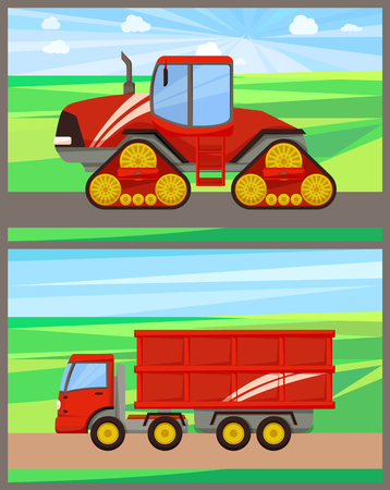 Tractor and grain truck set vector. Field works of agricultural machinery and automation devices. Agrimotor with cabin and van transportation harvest 일러스트