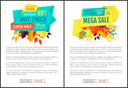 Hot price mega sale posters exclusive offer posters set. Limited time only buy now natural quality products and goods. Autumn reduction deal vector