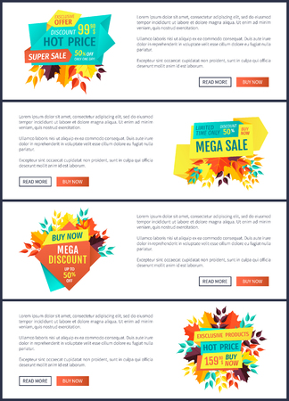 Mega discount natural product special hot price and best choice of goods. Posters set one day only premium offer autumn proposition buy now vector