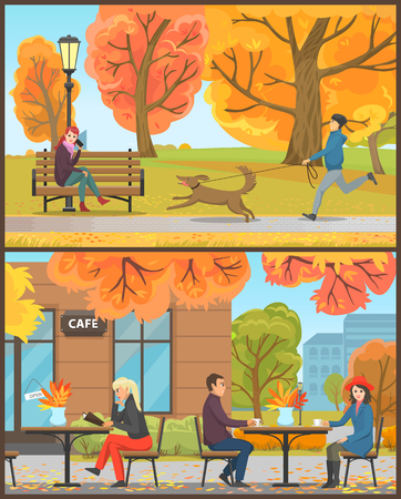 Cafe exterior clients drinking hot beverages set vector. Trees and foliage, falling leaves, person walking dog in autumn park, lady talking on mobile Banque d'images - 112934033