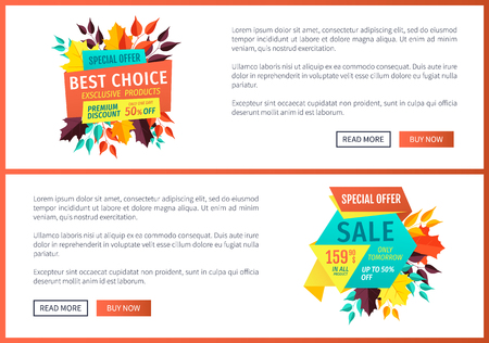 Special offer best choice set of posters with text sample. Autumnal sales only tomorrow. Promo banners with yellow leaves quality products vector