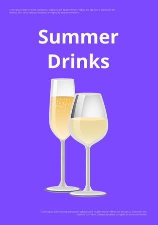 Summer drinks champagne advertisement poster with closeup of glass, alcohol drink with bubbles vector illustration isolated on purple background