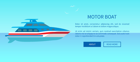 Two deck motor boat advertisement poster offering traveling on yachts by sea or ocean vector illustration. Sailboat web page design in travelling concept Иллюстрация