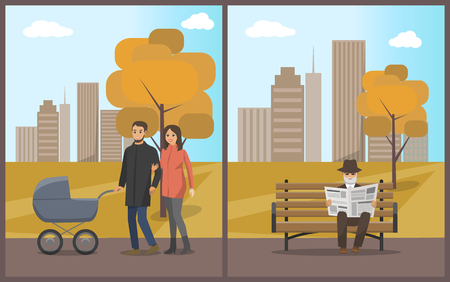 Old male reading newspaper and sitting on bench set vector. Family male and female with pram and kid inside walking calmly. Cityscape and autumn trees