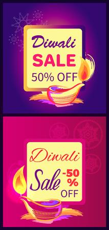 Diwali Sale -50 off Sign Vector Illustration