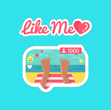 Like Me Social Network and Streams Stickers Vector
