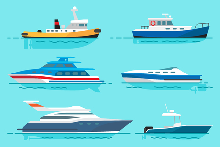 Small steamer, blue fishing boat, modern luxury yachts for sea walks and simple motor boat stand on water surface vector illustration.