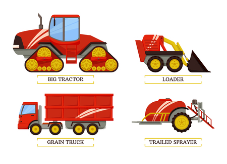 Big tractor and loader trailed sprayer and grain truck. Isolated icons vector agricultural machinery, agrimotor with trailer container transportation 일러스트