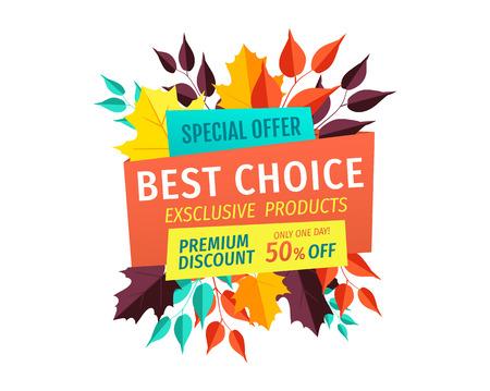 Special Offer Logo Best Choice for Autumn Season Illustration