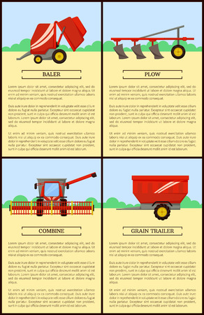 Agricultural machinery set cartoon vector banner. Big combine with wide reaper and plow, baler and grain trailer, new technique, isolated equipment