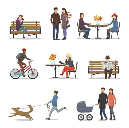 Autumn people activities autumnal set vector. Boy walking dog on leash, male riding bicycle and wearing helmet. Family with pram, couple with coffee Vectores