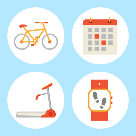 Treadmill and bicycle isolated icons set. Bike and running track mechanical device for jogging in gym, Fitness watch and calendar with dates vector Illustration