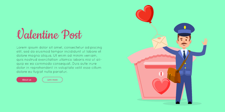 Valentine postman in uniform with mailbag holding envelope with heart balloon near postbox flat vector illustration. Horizontal concept for mail or post company landing page
