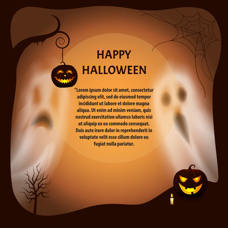 Happy Halloween Poster with Text Sample Vector