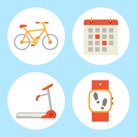 Treadmill and Bicycle Set Vector Illustration Standard-Bild - 113272633