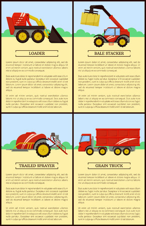 Loader and Trailed Sprayer Set Vector Illustration