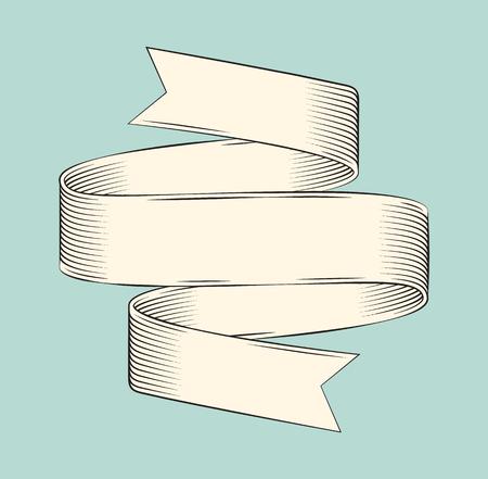 Ribbon Banner Icon Sketch Vector Illustration