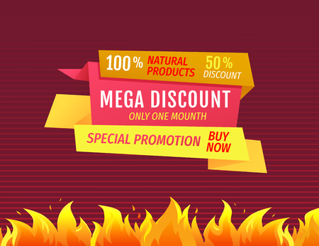 Special promotion buy now mega discount only one month super price promo poster. Vector 100 natural products price tag label isolated sale advertisement