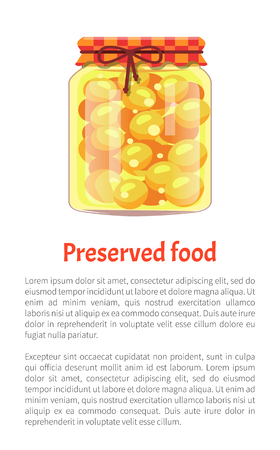 Preserved food in glass container with lace. Cherry plum conservation fruits preservation in jars. Jam and homemade marmalade sweet confiture vector Illustration