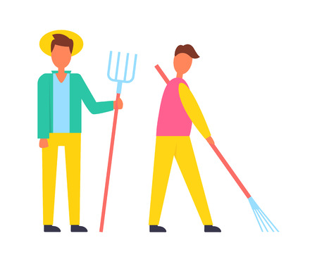 Farmer with hayfork pike and man working using rake to remove leaves of autumn trees. People males occupied with rural job on land isolated vector icons