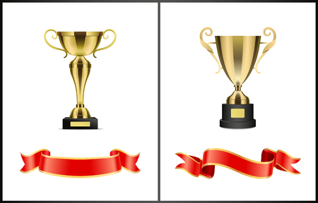 Golden cups on pedestal with nameplate and winding satin ribbons set isolated. Vector realistic award depiction for contest or competition winning.