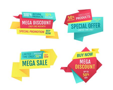 Sonderangebot-Banner-Set, Vektorwerbung. Rabatte und Aktionen nur einen Monat, Premium-Qualität, exklusive Produkte nur einen Tag. Kaufen Sie jetzt den Werbetitel für den Super Sale in begrenzter Zeit Poster Vektorgrafik