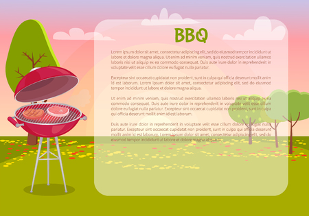 BBQ poster with text and nature vector. Grille grid with roasting meat, beef and pork grilling. Autumn leaves on grass and trees, picnic barbecue Illusztráció