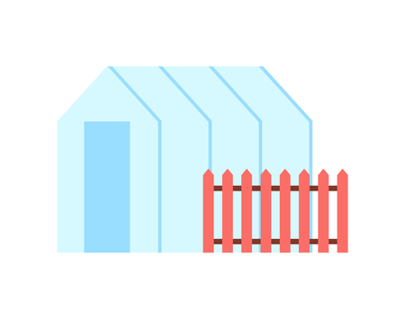 Greenhouse Hothouse and Fence Vector Illustration