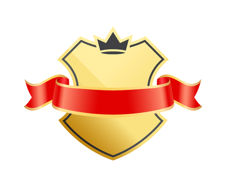 Gold coat of arms with ribbon decoration vector icon. Shiny shield with crown silhouette at top, wrapped in shaped red string with glossy frames. Stock Illustratie