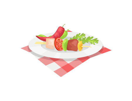 Kebab on plate vector badge in cartoon style. Roast piece of meat with sliced vegetables on wood skewer, pepper pods and herbs in dish on tablecloth