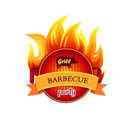 Grill barbecue party hot isolated icon vector. Frying pan fryer with flames fire. Barbeque curved ribbon with text. Dishware for cookout and picnic Stock Illustratie