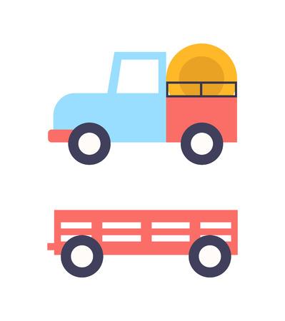 Agrimotor Tractor Icons Set Vector Illustration Illustration
