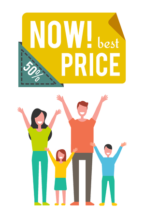 Best price now 50 percent off, special offer banner with happy family vector icon. Smiling group of people with hands up, isolated badge of cartoon style
