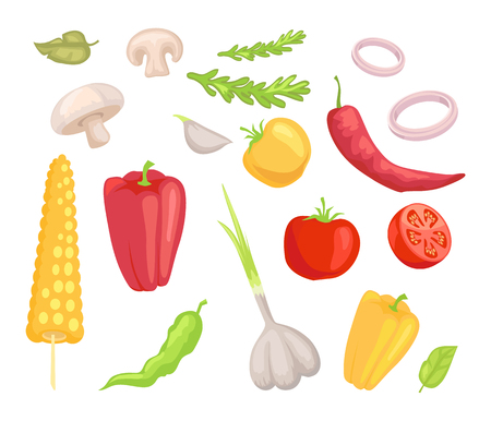 Vegetables veggies isolated icons set vector. Herbs and leaves mushroom pepper paprika and corn. Tomatoes garlic and onion rings vegs and greenery