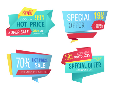Special offer banners set, vector design icons. Hot price, super sale, premium promotion, exclusive products, limited time only and discount poster