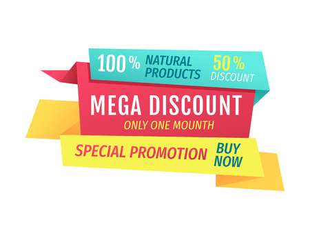 Mega discount only this month special promotion buy now poster. Assurance of quality and naturality of selling products. Ribbons isolated on vector Ilustrace