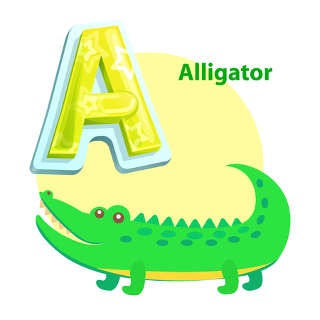 Alligator children alphabet with word and character. Water dweller with crocodile animal. Educational learning flashcard isolated vector, letter A Illustration